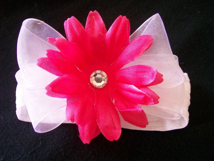 Bright Pink Flower on White Band