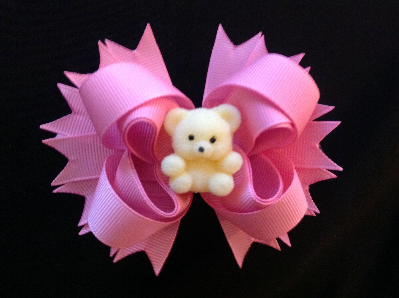 pink Sacked Hair Bow, Cute Bear Hair Bow