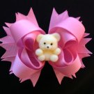 pink Sacked Hair Bow, Cute Bear Hair Bow