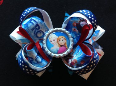 Frozen Princess Hair Bow, Elsa & Anna Hair Bow, Stacked Hair Bow