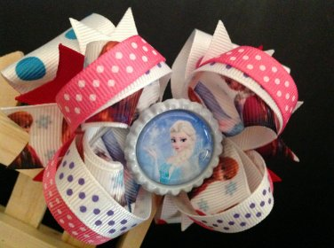 Frozen-Elsa Hair Bow, 4 Inch Stacked Hair Bow