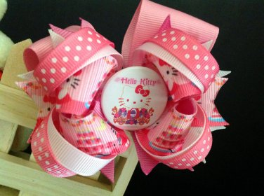 pink Hello Kitty Hair Bow, Boutique Stacked Hair Bow