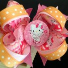 Hello Kitty-Boutique Hair Bow, Pink Stacked Hair Bow, Girls Hair Bow