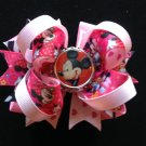 Pink Minnie Mouse Hair Bow-Boutique Stacked Hair Bow