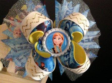 Frozen - Elsa & Anna Hair Bow, Frozen-Snow Queen-Stacked Hair Bow