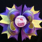 Purple & Yellow-Hello Kitty Hair Bow, Stacked Hair Bow