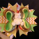 Light Yellow Teddy Bear Hair Bow, Happy Bear Hair Bow, Summer Hair Bow, Stacked Hair Bow
