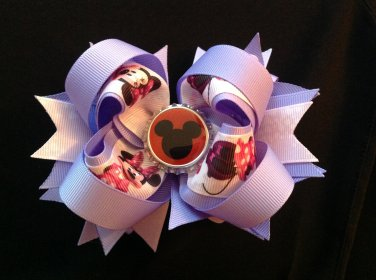 Lavender Minnie Mouse Hair Bow, Disney Stacked Hair Bow