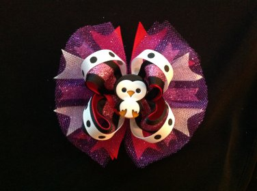 Glitter Boutique Hair Bow, Five Inch Hair Bow, Stacked Hair Bow, Gilrs Hair Bow