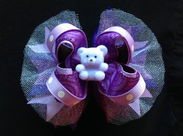 Purple Bear-Boutique Hair Bow, Stacked Hair Bow