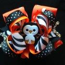 Penguin Hair Bow, Polka Dots Stacked Hair Bow