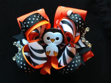 Penguin Hair Bow, Polka Dots Stacked Hair Bow