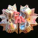 Little Pony Hair Bow, Cute Pink Pony Hair Bow, Stacked Hair Bow
