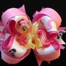 Shine Glitter Yellow & Pink Pony Hair Bow, My Liite Pony Hair Bow, Sacked Hair Bow