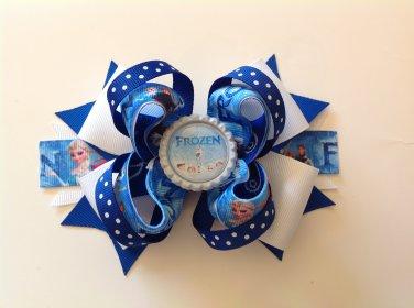 Blue Frozen Sacked Hair Bow, Frozen Queen Hair Bow, Elsa & Anna Hair Bow, Frozen Olaf Hair Bow