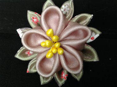 Cute Flower Clip, Kanzashi Flower Clip, Fabric & Organza Flower