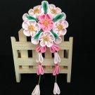 Kanzashi Flower Barrette, Tsumami Kanzashi, Ribbon Flower, Pink Flower With Tails