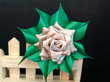 Tsumami Kanzashi Flower Clip, Brooch Flower Pin, Rose Flower Clip