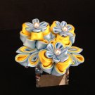 Kanzashi Flower Barrette, Tsumami Kanzashim Yellow & Blue Flower Barrette