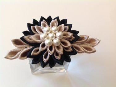 Kanzashi Flower Barrette, Tsumami Kanzashi, Ribbon Flower