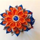 Kanzashi Flower Clip, Tsumami Kanzashi, Rhinestone Bead Flower Clip