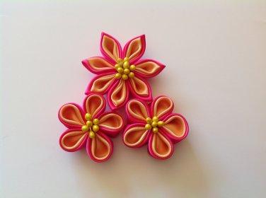 Kanzashi Flower Clips, Tsumami Kanzashi, Three Piece Flower