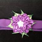 Kanzashi Ribbon Flower Headband, Purple Flower Headband, Girls Flower Heasband