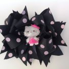 Hello Kitty Stacked Hair Bow, Black With Dots Hair Bow