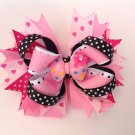 Heart, Pink, Stacked Hair Bow