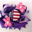 4th July Stacked Hair Bow, Purple Stacked Hair Bow