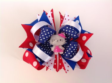 Hello Kitty Stacked Hair Bow, 4th July Stacked Hair Bow
