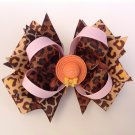 Leopard Satacked Hair Bow