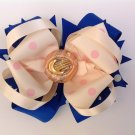 Royal Blue & Ivory Stacked Hair Bow