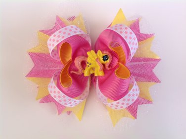 Little Pony Stacked Hair Bow, Yellow & Pink Hair Bow