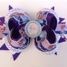 Purple Disney Frozen-Elsa & Anna Stacked Hair Bow