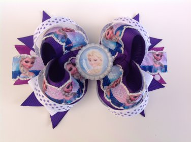 Purple Disney Frozen-Elsa & Anna Stacked Hair Bow