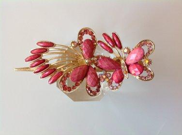 Pink Butterfly Rhinestone Crystal Agate Bead Alloy Tiara