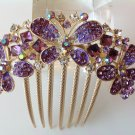 Purple Butterfly Boutique Alloy Rhinestone Comb