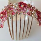 Pink Rose Boutique Alloy Rhinestone Crystal Comb