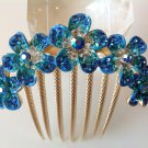 Blue Plum Flower Boutique Alloy Rhinestone Crystal Comb