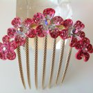 Pink Plum Flower Boutique Alloy Rhinestone Crystal Comb