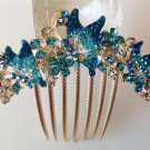 Blue Butterfly Boutique Alloy Rhinestone Crystal Comb