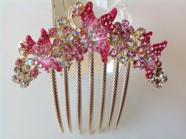 Pink Butterfly Boutique Alloy Rhinestone Crystal Comb