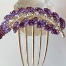 Purple Leaf Alloy Rhinestone Crystal Comb