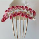 Pink Leaf Alloy Rhinestone Crystal Comb