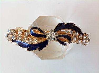 Navy Bow Alloy Rhinestone Crystal Barrette