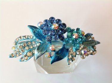 Blue Flower Alloy Rhinestone Crystal Barrette