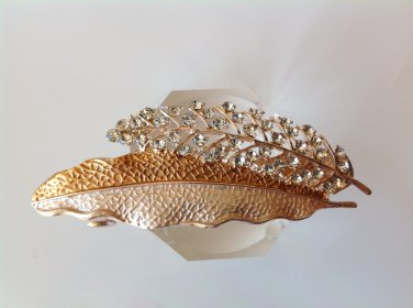 Champagne Leaf Boutique Alloy Rhinestone Crystal Barrette