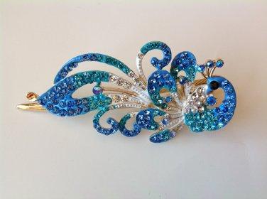 Blue Peacock Rhinestone Crystal Hair Clip