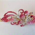 Red Peacock Rhinestone Crystal Hair Clip
